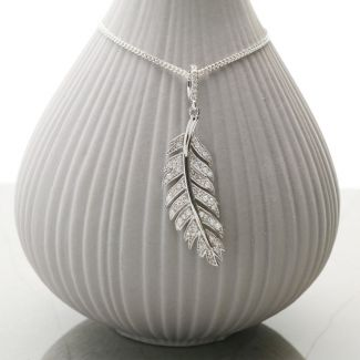 9ct White Gold Diamond Set Feather Pendant & Optional Chain