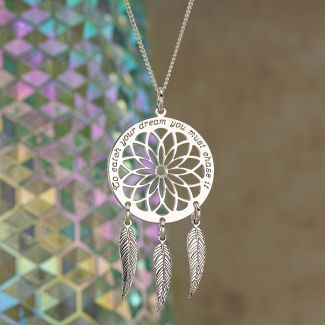 Sterling Silver Dream Catcher and Feathers Necklace