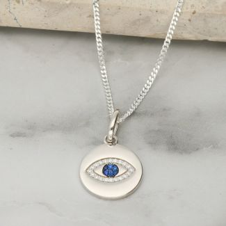 Sterling Silver Evil Eye CZ Crystal Pendant with Chain