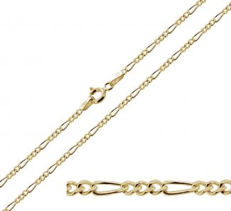 9ct Yellow Gold Plated on Sterling Silver 1.5mm Figaro Chain