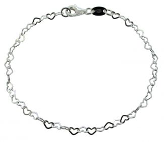 Sterling Silver Childrens Flat Heart Link Charm Bracelet