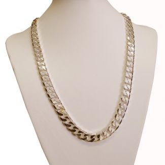 9ct Yellow Gold Plated on Sterling Silver Heavy Chunky 11mm Curb Chain