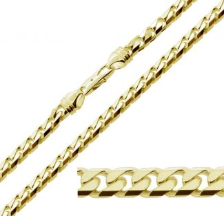 9ct Yellow Gold Plated on Sterling Silver Heavy Chunky 7.2mm Curb Chain