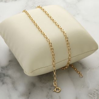 Yellow Gold 2.6mm Hollow Diamond Cut Belcher Chain