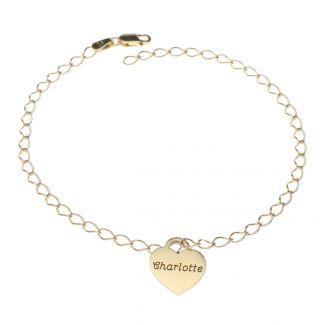 9ct Yellow Gold Mini Personalised Hearts Bracelet