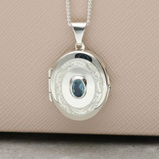 Sterling Silver Oval Locket With Blue Topaz & Optional Engraving