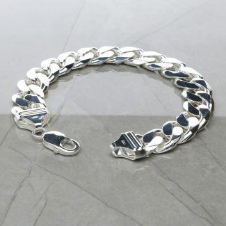 Sterling Silver Mens Heavy 15mm Flat Curb Gents Bracelet