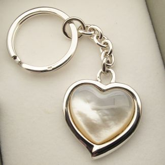 Sterling Silver Mother of Pearl Heart Keyring With Optional Engraving