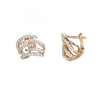 Yellow Gold Plated CZ Huggie Earrings