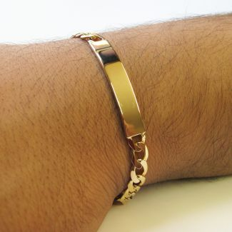 9ct Yellow Gold Mens Curb ID Bracelet With Optional Engraving