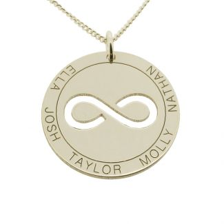 Sterling Silver Personalised Infinity Disc Pendant