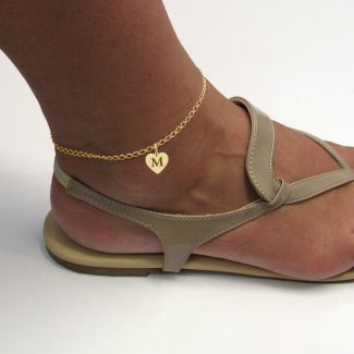 9ct Yellow Gold Plated Anklet With Heart Initial Charm