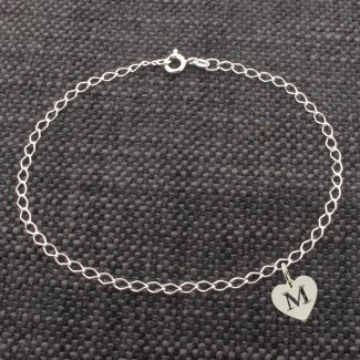Sterling Silver Curb Anklet With Initial Heart Charm