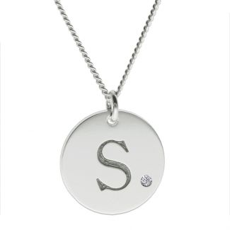 Sterling Silver Engraved Initial Disc With Crystal Or Real Diamond