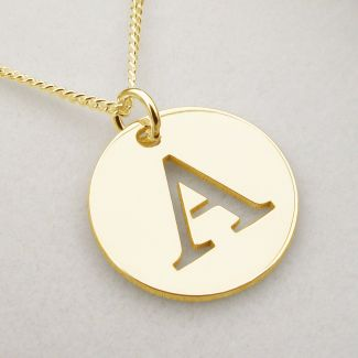 9ct Yellow Gold Plated Initial Disc Pendant