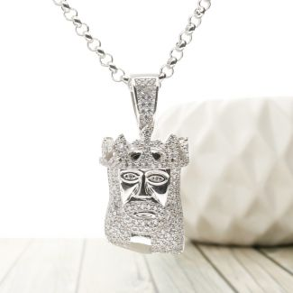 Sterling Silver Jesus with Crown CZ Pendant and Optional Chain