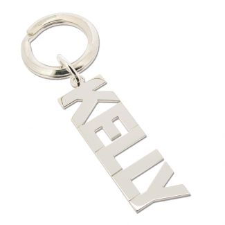 Sterling Silver Block Name Keyring