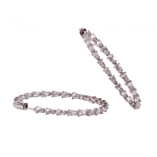 Sterling Silver Large Hoop Earrings With White CZ Stones