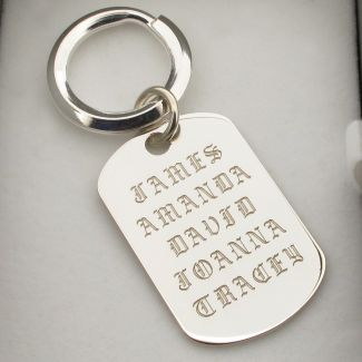 Sterling Silver Personalised Old English Keyring With Optional Engraving