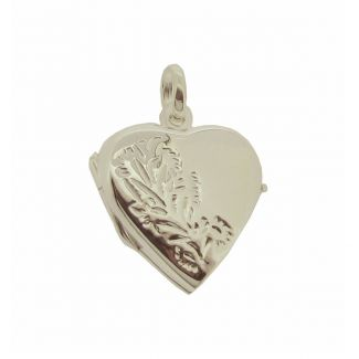 Sterling Silver Pattern Set Heart Locket With Optional Engraving