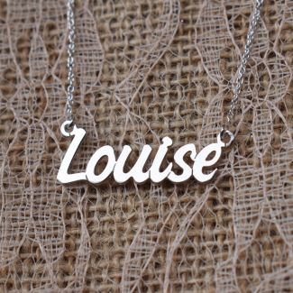 9ct White Gold Challenge Style Personalised Name Necklace