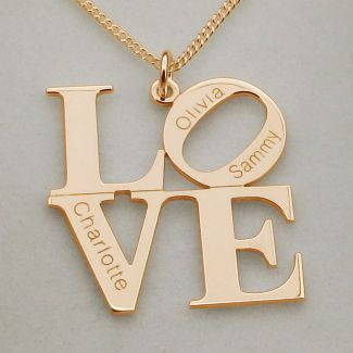 Rose Gold Plated LOVE Pendant With Optional Engraving