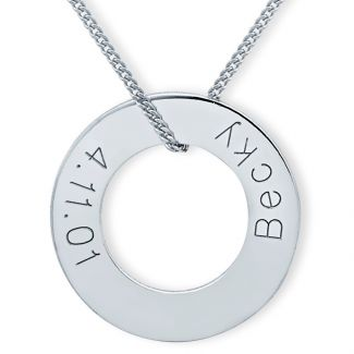 Sterling Silver Engraved Round Donut Karma Pendant