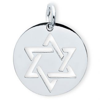 9ct White Gold Star Of David Disc Pendant
