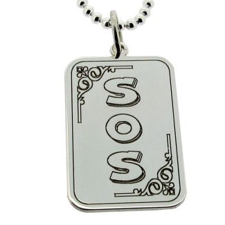 Sterling Silver Medic Aware Snake Rectangle Pendant & Optional Chain