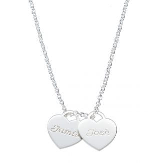 Sterling Silver Personalised Heart Pendants Necklace
