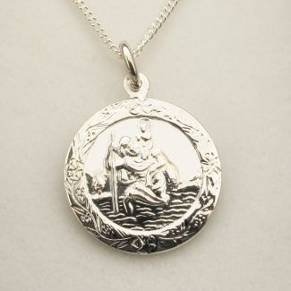 Sterling Silver Patterned St Christopher Pendant