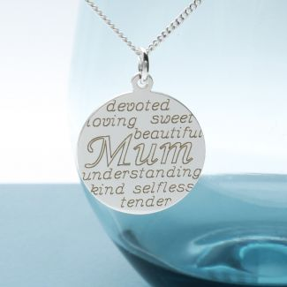 Sterling Silver Personalised Mothers Day Pendant With Chain