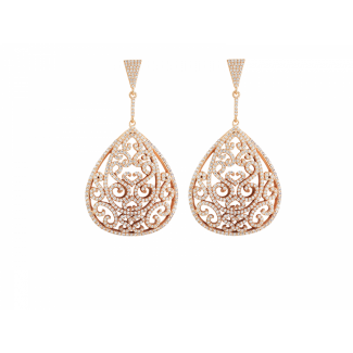 Rose Gold Plated Ornate Earrings With White CZ Stones