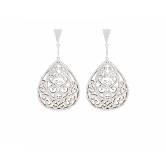 Sterling Silver Ornate Earrings With White CZ Stones