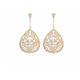 Yellow Gold Plated Ornate Earrings With White CZ Stones