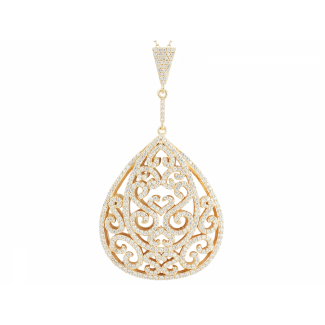 Yellow Gold Plated Ornate Pendant & Chain