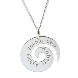Sterling Silver Personalised Koru Pendant With Chain