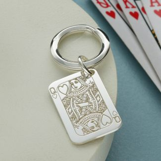 Sterling Silver Queen Of Hearts Poker Card Keyring With Optional Engraving