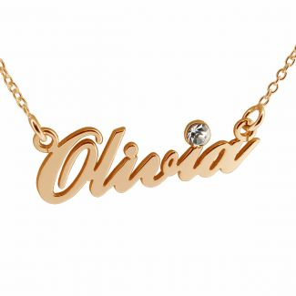 9ct Rose Gold Carrie Style Personalised Name Necklace With Crystal (Sex & The City)