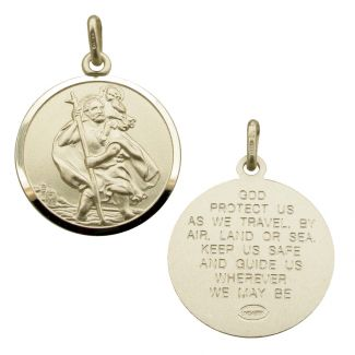 Sterling Silver 24mm St Christopher Pendant With Travellers Prayer