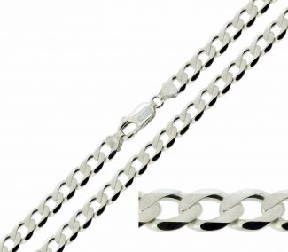 Sterling Silver 6.8mm Diamond Cut Curb Chain