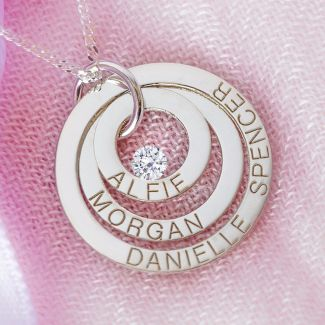 9ct White Gold Triple Disc Personalised Family Necklace With Swarovski Crystal