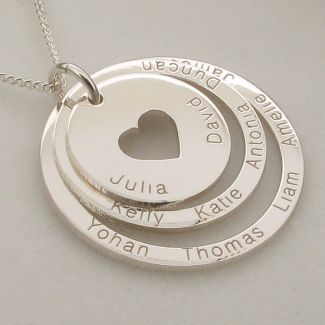 Sterling Silver Two Disc Cut Out Heart Personalised Family Necklace