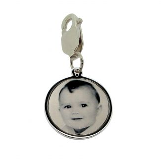 Sterling Silver 19mm Round Photo Engraved Disc Charm