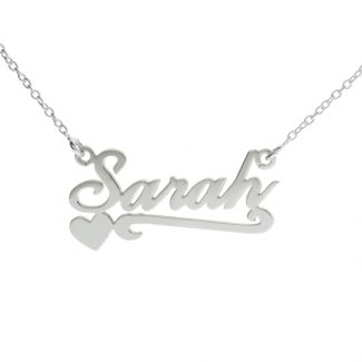 Sterling Silver Carrie Style Personalised Name Necklace With Heart & Scroll