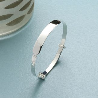 Sterling Silver Baby & Children's Expandable ID Bangle With Optional Engraving