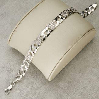 Sterling Silver 8mm Ladies CZ Set Heart Flat Curb Bracelet