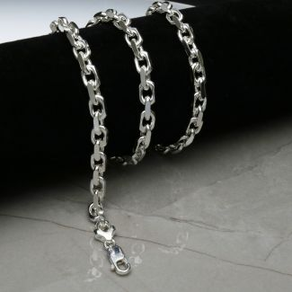 Sterling Silver 6mm Mens Diamond Cut Belcher Bracelet