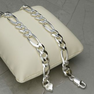 Sterling Silver Mens 6mm Figaro Chain