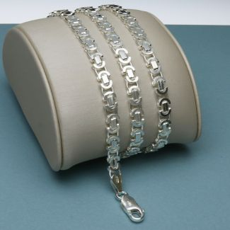 Sterling Silver 4mm Byzantine Fancy Chain